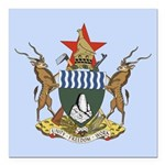 Zimbabwe Coat Of Arms Square Car Magnet 3