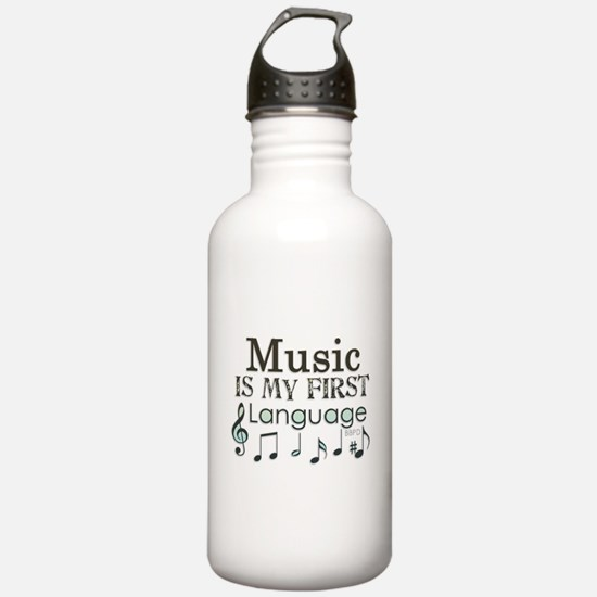 Music is my first Language Sports Water Bottle