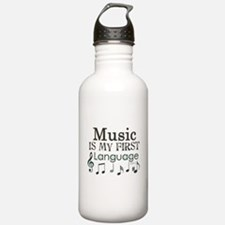 Music is my first Language Water Bottle