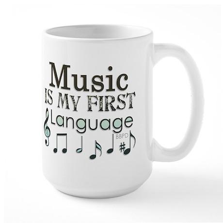 Music is my first Language Large Mug