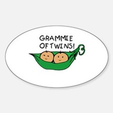 Grammie of Twins Oval Decal