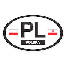 PL Car Decal - Polska (Poland) - Oval Stickers