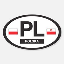 PL Car Decal - Polska (Poland) - Oval Stickers
