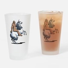 Bigfoot Riding a Unicorn Drinking Glass