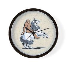 Bigfoot Riding a Unicorn Wall Clock