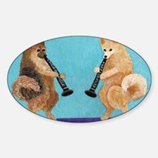 Pomeranian Clarinet Duo Sticker (Oval)