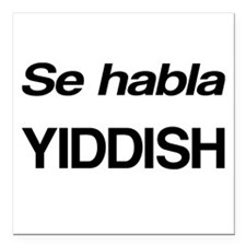 "Se Habla Yiddish Square Car Magnet 3"" x 3"""
