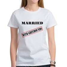 MARRIED WITH GREYHOUNDS WOMEN'S WHITE TEE