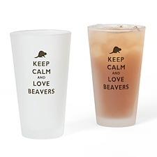 Keep Calm And Love Beavers Drinking Glass