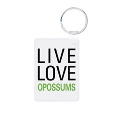 Live Love Opossums Aluminum Photo Keychain