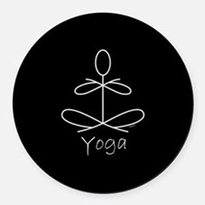 Yoga Glee in White Round Car Magnet