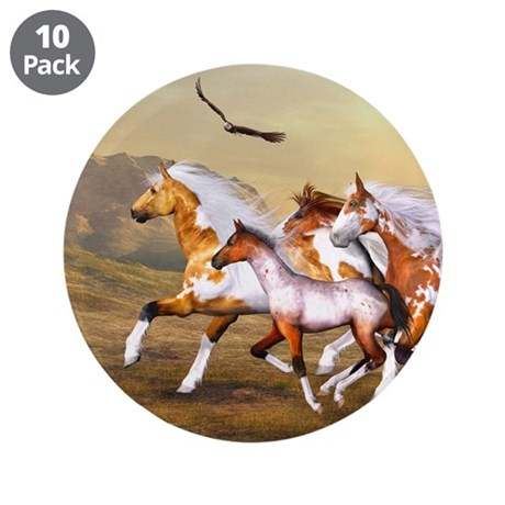 "Wild Horses Herd 3.5"" Button (10 pack)"