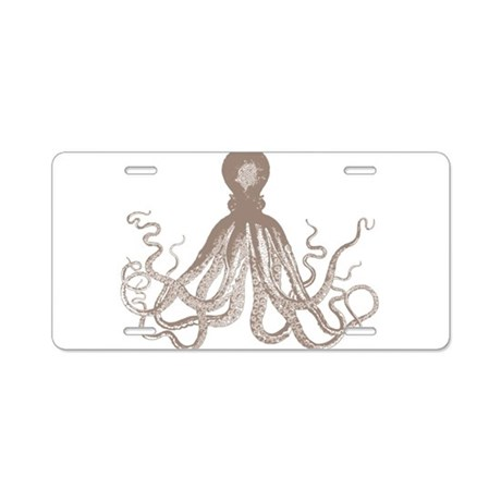 vintage octopus Aluminum License Plate