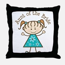 Aunt of the Bride Stick Figure Throw Pillow