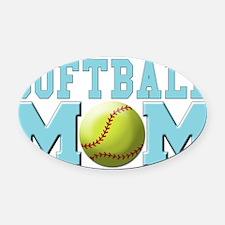 softball mom(white).png Oval Car Magnet