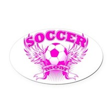 soccer MOM shield.png Oval Car Magnet