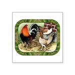 "Barnyard Game Fowl Square Sticker 3"" x 3&quot"