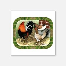 "Barnyard Game Fowl Square Sticker 3"" x 3&quot"