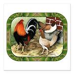 "Barnyard Game Fowl Square Car Magnet 3"" x 3&a"