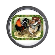 Barnyard Game Fowl Wall Clock