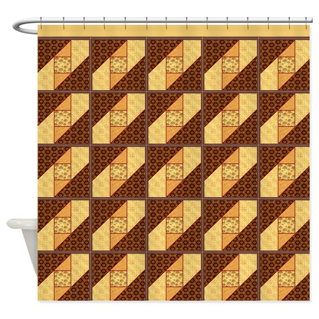 attic window rust and gold shower shower curtain by