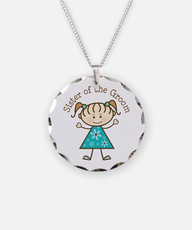 Sister of the Groom Stick Figure Necklace