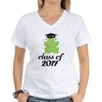 Class of 2017 Frog Women's V-Neck T-Shirt