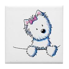 Pocket Westie Girl Tile Coaster