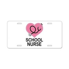 School Nurse Heart Aluminum License Plate