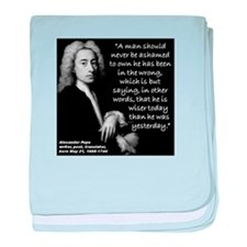 Pope Wiser 2 Quote baby blanket