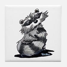Bashful Raccoon Tile Coaster