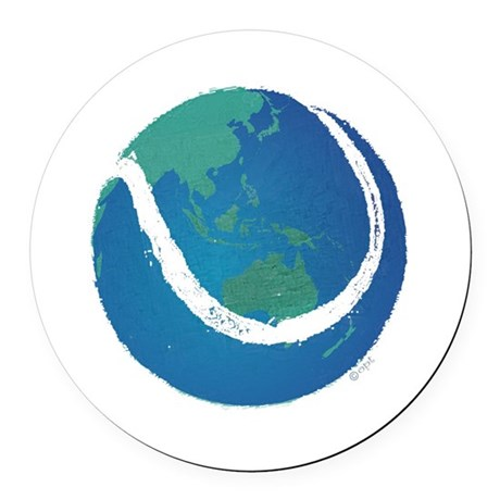 tennis ball world globe Round Car Magnet