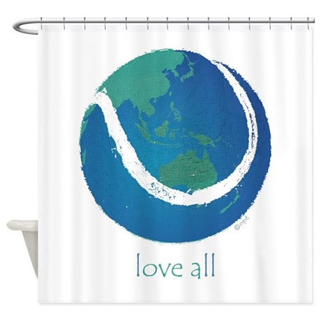 Love All World Tennis Shower Curtain By Optdesigns
