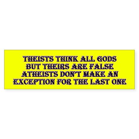 Theist vs Atheist Bumper Sticker