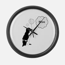 Moo Penguin Bird Large Wall Clock