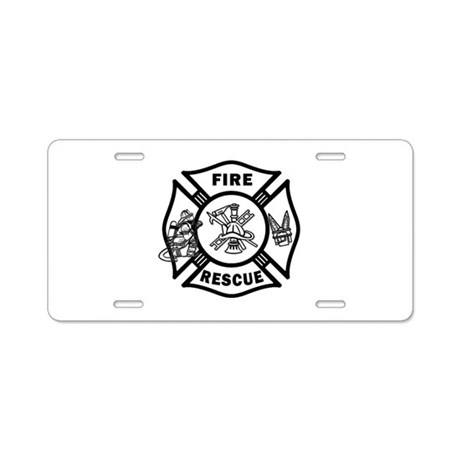 Fire Rescue Aluminum License Plate