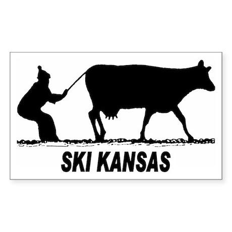 Ski Kansas Rectangle Sticker