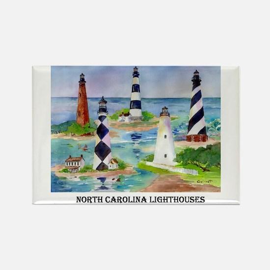 N.C.Light Houses Rectangle Magnet