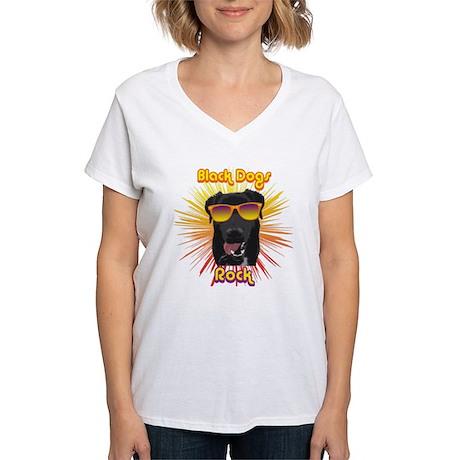 Black Dogs Rock! Women's V-Neck T-Shirt