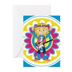 Hippie Girl with Guitar Greeting Cards (Pk of 20)