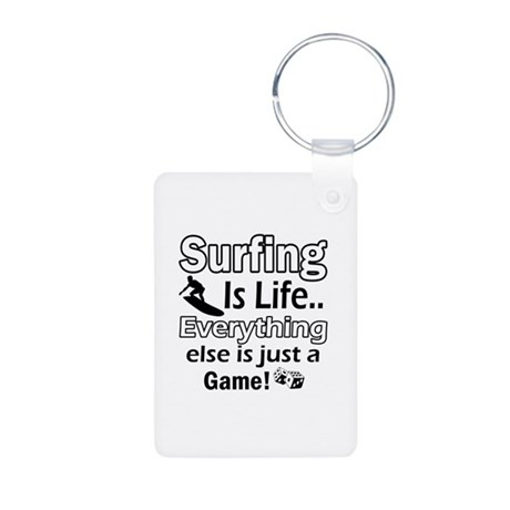 Surfing Is Life Aluminum Photo Keychain