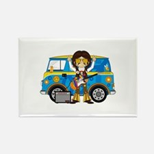 Hippie Boy and Camper Van Rectangle Magnet