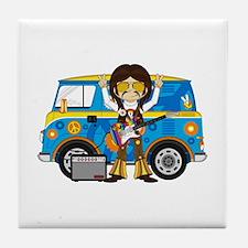 Hippie Boy and Camper Van Tile Coaster
