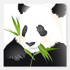 "Panda Bear Square Car Magnet 3"" x 3"""