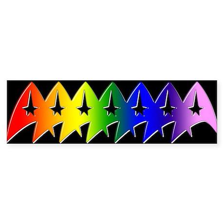 Trek Pride Beveled Rainbow Bumper Sticker (Bumper)