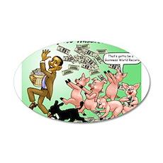 Obama feeding the pigs 22x14 Oval Wall Peel