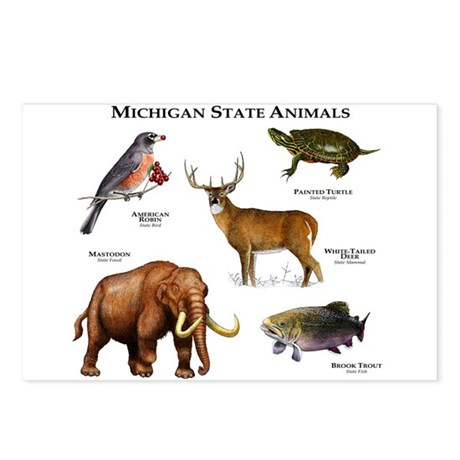 Michigan State Animals Postcards (Package of 8)