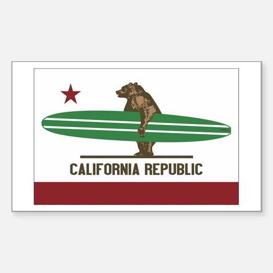 California Surfing Bear Longboard Flag Decal