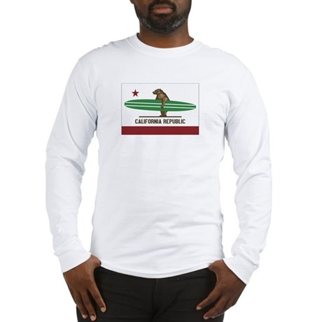 California Surfing Bear Longboard Flag Long Sleeve
