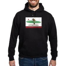 California Surfing Bear Longboard Flag Hoodie